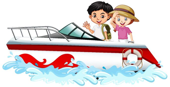 Children standing on a speed boat on white background illustration