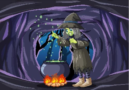 Wizard or witch with magic pot on dark cave scene illustration