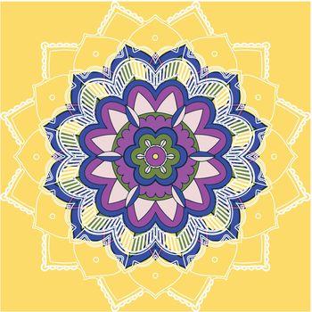 Mandala patterns on yellow background illustration