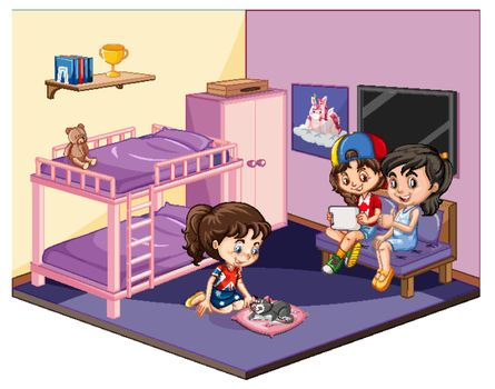 Girls in the bedroom in pink theme scene on white background illustration