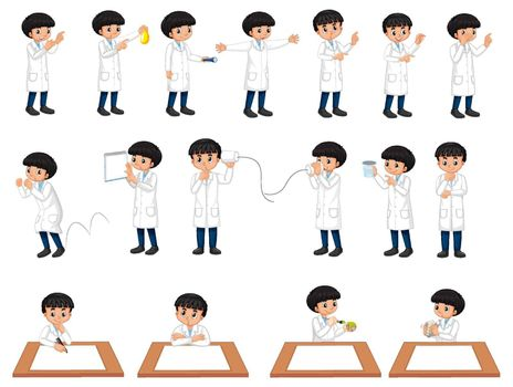 Set of a scientist boy in different poses cartoon character illustration