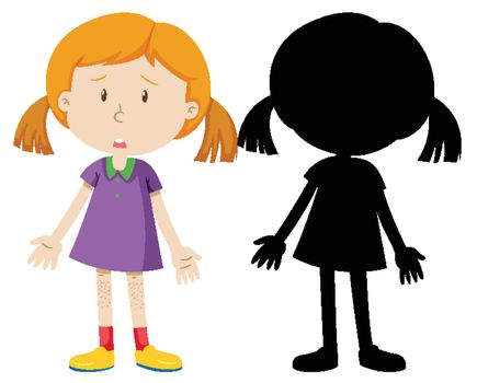 Girl sad disapointed with its silhouette illustration