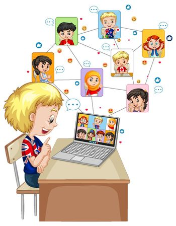 A boy using laptop for video call with friend on white background illustration