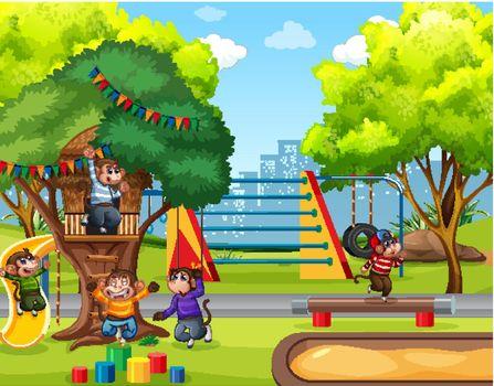 Five little monkeys jumping in the park playground scene illustration