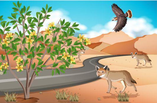 Wild desert landscape at daytime scene illustration