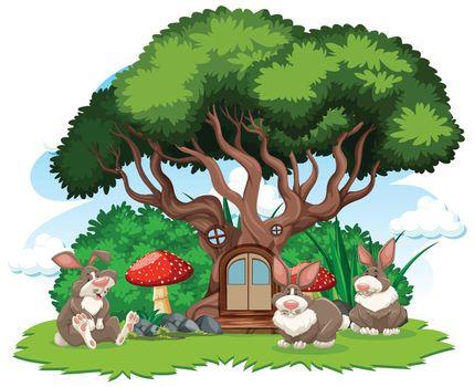 Tree house with three rabbit cartoon style on white background