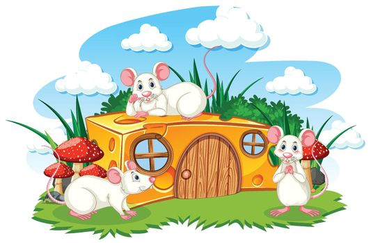 Cheese house with three mouses cartoon style on white background