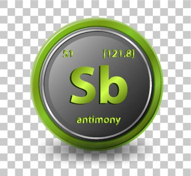 Antimonychemical element. Chemical symbol with atomic number and atomic mass. illustration