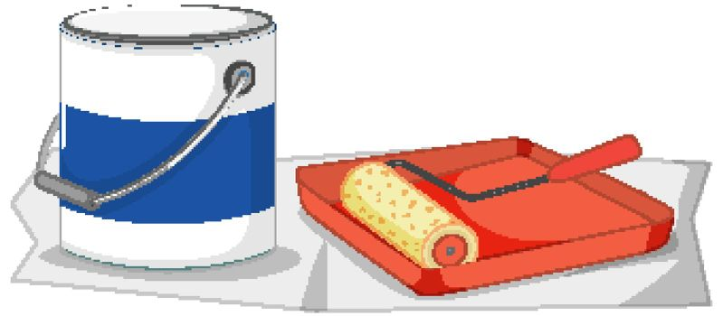 Paint roller with paint tray and color bucket for painting work  illustration
