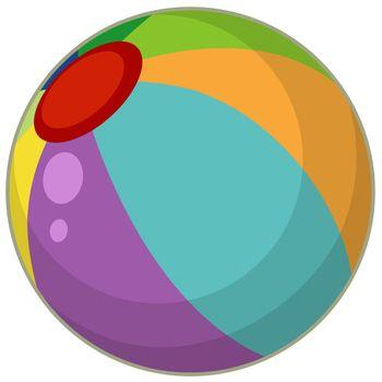 A colourful beach ball cartoon style isolated illustration