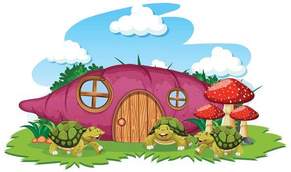 Taro house with three turtle cartoon style on white background
