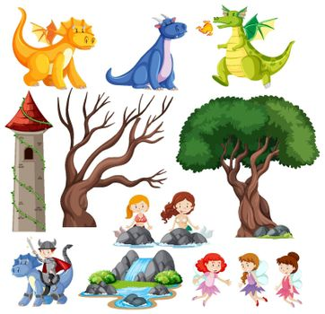 Set of children is fairy tale castle and dragon  illustration
