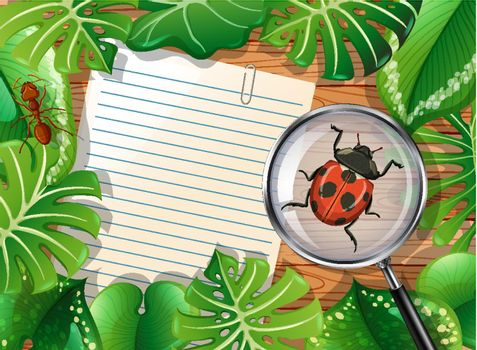 Top view of wooden table with blank paper and insects and leaves element illustration