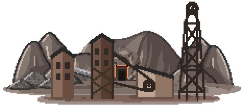 Landscape of coal mine illustration