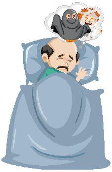 Old man having a nightmare