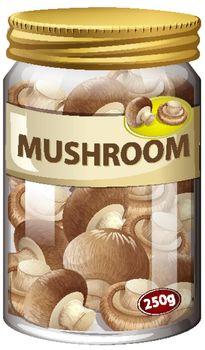 Mushroom preserve in glass jar