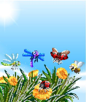 Empty nature background with many different insects