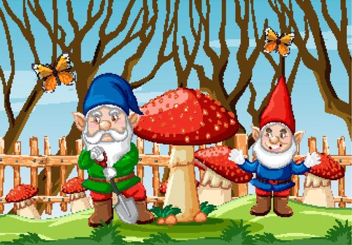 Gnome with mushroom and butterfly in the garden cartoon style scene