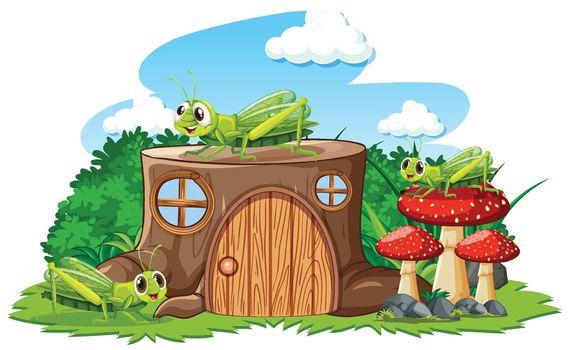Stump house with grasshoper cartoon style on white background