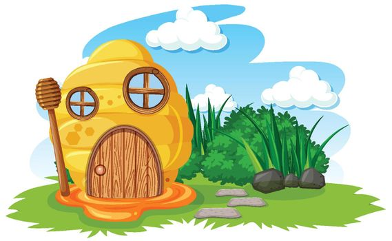 Honeycomb house in the garden cartoon style on sky background