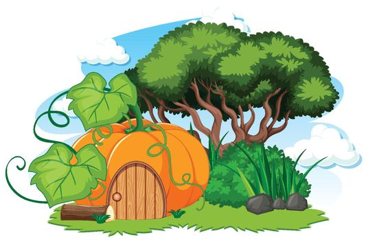 Pumpkin house and some grass cartoon style on white background