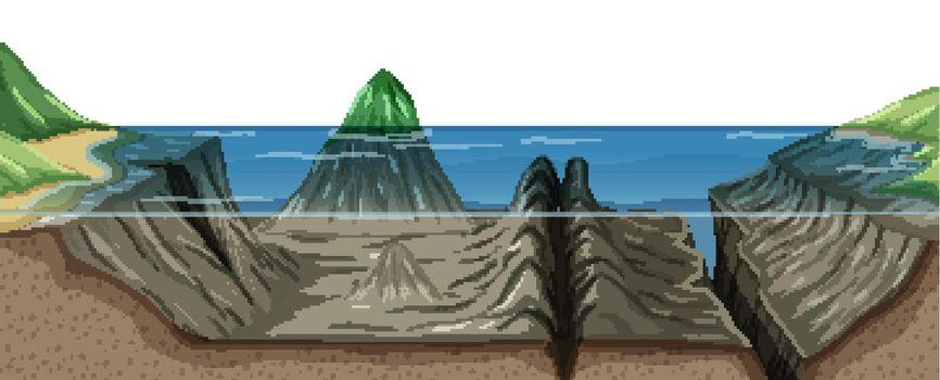 Mariana trench undersea landscape