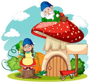 Gnomes and mushroom house cartoon style on white background