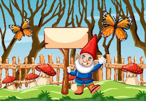 Gnome with blank banner and butterfly in the garden cartoon style scene