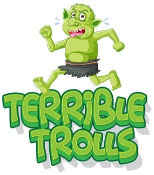 Terrible trolls logo on white background