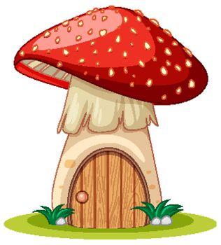 Mushroom house cartoon style on white background