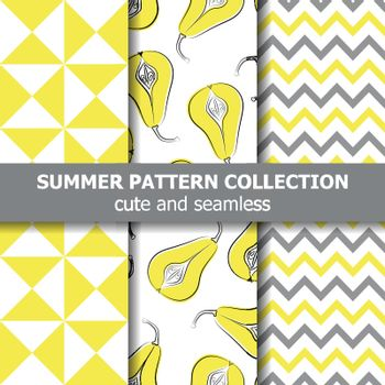 Delicious summer pattern collection. Pears theme. Summer banner. Vector.
