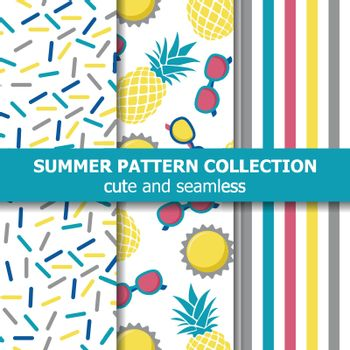 Juicy summer pattern collection. Pineapple theme. Summer banner. Vector.