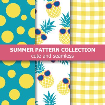Tropical summer pattern collection. Pineapple theme. Summer banner. Vector.