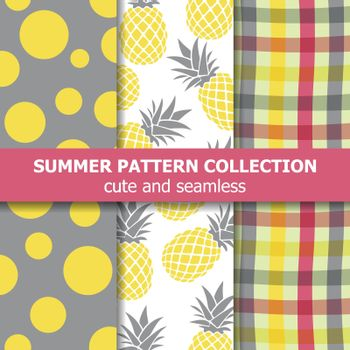 Exotic summer pattern collection. Pineapple theme. Summer banner. Vector.
