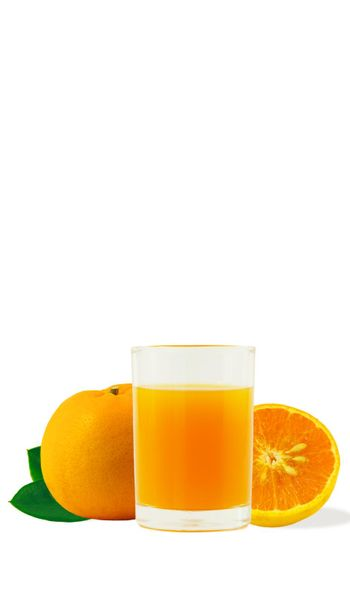 100% fresh-squeezed orange juice in a glass And citrus fruit split on white background. Concept of how to live with a naturally refreshing drink that contains vitamin C.