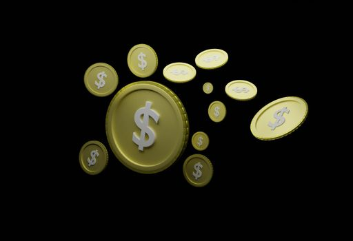 Abstract floating us dollar coin Black background isolated Concept of currency analysis from economic fluctuations in export trade, global market valuation 3D rendering.