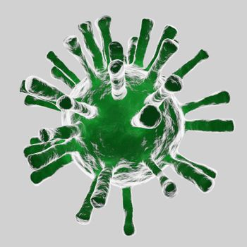 Abstract Corona Virus 19 Microscopic Particles Scattered on white background Research idea for the coronavirus 2019 genetic material that is spreading heavily all over the world 3d rendering.