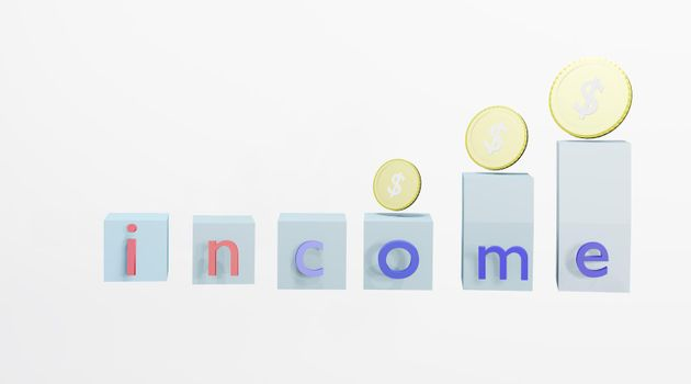 Abstract text box and dollar coin Concept of investment income and financial stability 3D rendering.