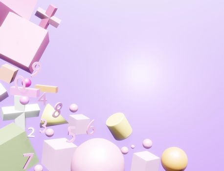 Abstract numbers and scientific notation Conceptual background of scientific education 3D rendering.