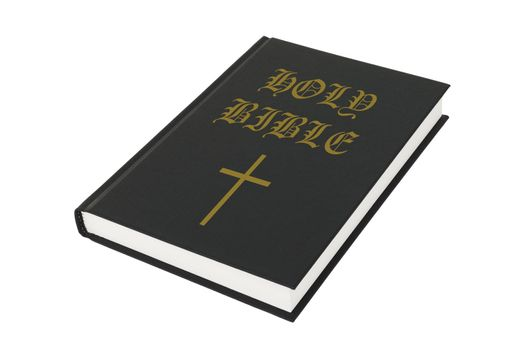 Black holy bible on white with clipping path