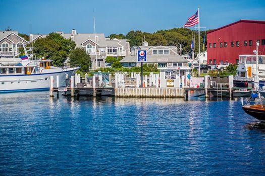 Cape Cod Marthas Vineyard, MA, USA - Sept 4, 2018: A fuel docking point along the port