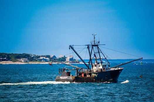 Cape Cod Marthas Vineyard, MA, USA - Sept 4, 2018: The Chief & Clyde II ready for a fishing expedition along the shore of Cape Cod
