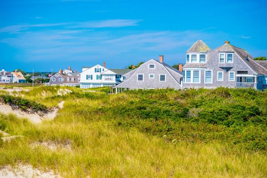 Cape Cod Marthas Vineyard, MA, USA - Sept 4, 2018: A random, classic and colorful beautiful private houses