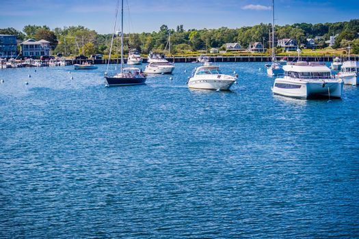 Cape Cod Marthas Vineyard, MA, USA - Sept 4, 2018: A sailing yacht boat cruising along the shore of Cape Cod