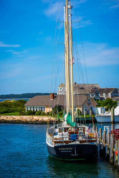 Cape Cod Marthas Vineyard, MA, USA - Sept 4, 2018: The Liberte Annapolis sailing yacht boat cruising along the shore of Cape Cod