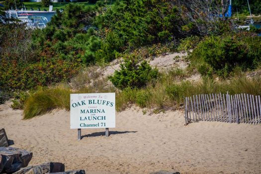 Cape Cod National Seashore, MA, USA - Sept 5, 2018: A welcoming signboard at the entry point of Oak Bluffs Town