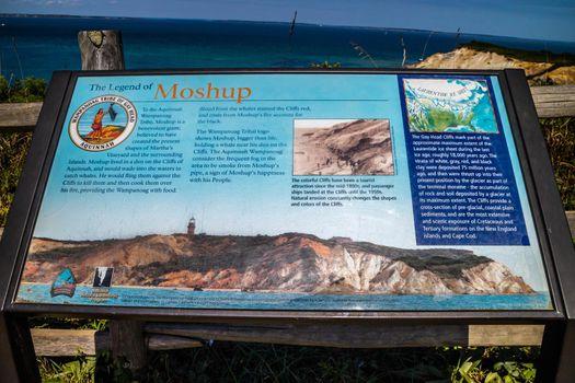Cape Cod Marthas Vineyard, MA, USA - Sept 4, 2018: The Legend of Moshop Cliff stone marker