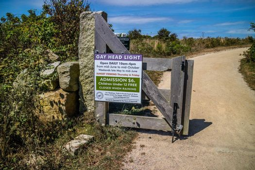 Cape Cod Marthas Vineyard, MA, USA - Sept 4, 2018: A welcoming signboard at the entry point the lighthouse