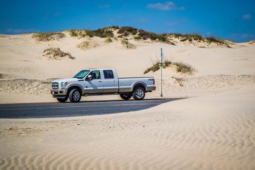 South Padre Island, TX, USA - Feb 25, 2017: The F350 Ford parked along the preserved resort town