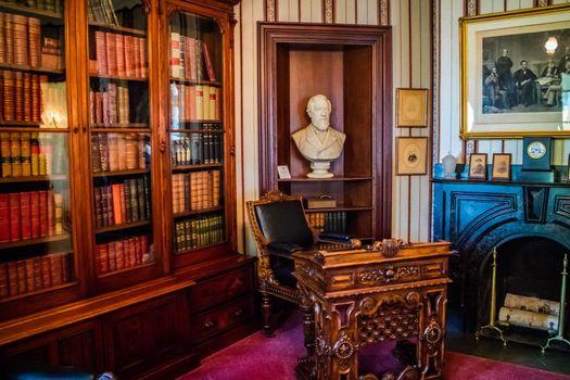 Augusta, ME, USA - August 8, 2018: The study hall of Blaine's House
